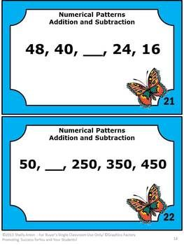 Math Task Cards Numerical Patterns Sequence Addition and Subtraction - This packet contains 30 Common Core task cards for students to find the missing number in each numerical pattern. The patterns are developed using addition or subtraction. A student response form and answer key are provided. CCSS.Math.Content.4.OA.C.5 - 4th grade Grade 4