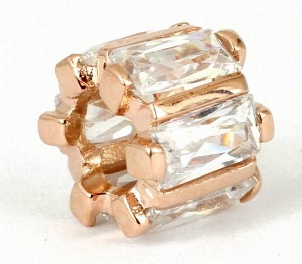 SOLID 9CT ROSE GOLD CHARM BEAD 6pcs Checkerboard Cut CZ Fit Bracelet / Necklace