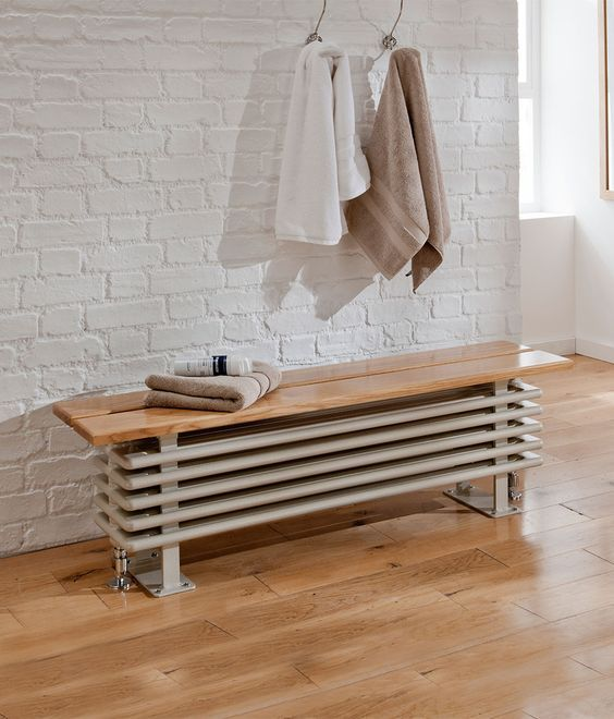 a radiator bench seat is a chic idea to hide it inside your bathroom rh pinterest com