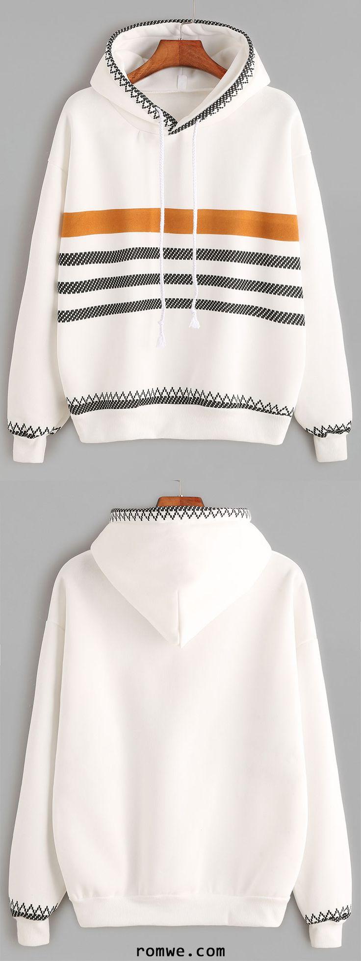White Geo Print Trim Drop Shoulder Drawstring Hoodie