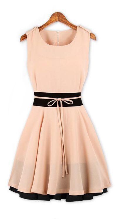 Blush dress with slimming black waist band