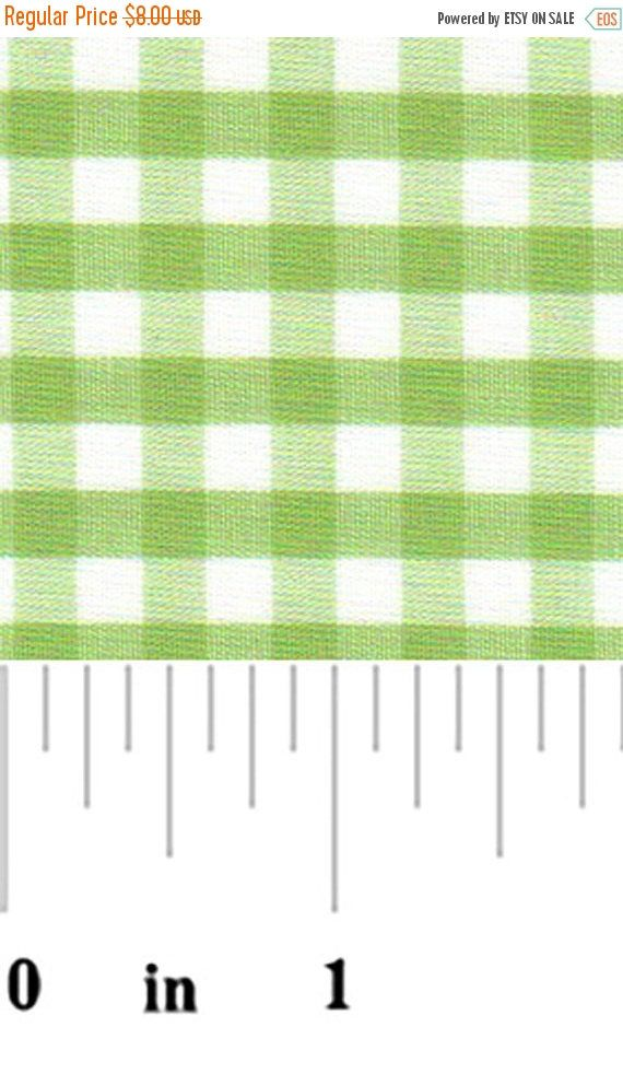 "ON SALE - 10% Off Fabric Finders 1/4"" Sprout Green White Gingham Check Quilting Apparel Applique Fabric By The Yard"