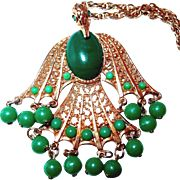 Falcon Bird Pendant Necklace with Green Beads