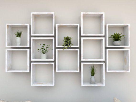 Rustic White Square Wall Shelf In Solid Oak Rustic White Oak Cube Shelves Box Shelf Cube Shelves Wall Shelves Wall Boxes