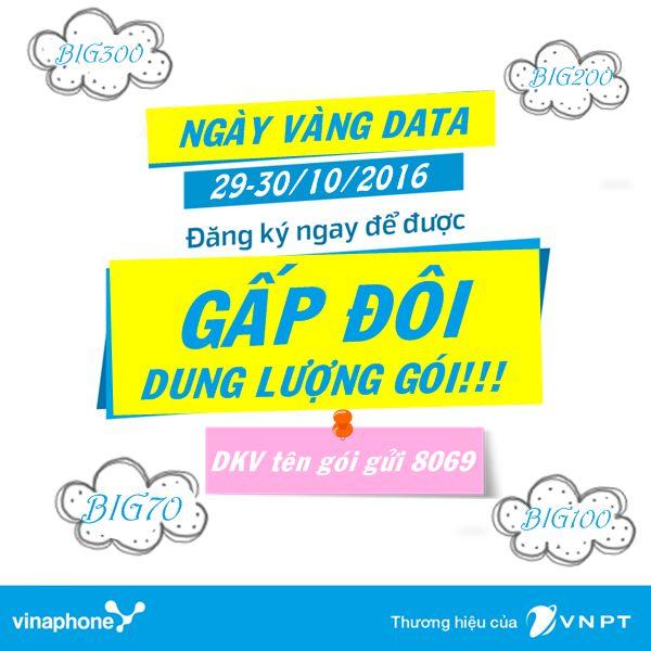 Vinaphone khuyến mãi 100% data BIG ngày 29, 30/10/2016