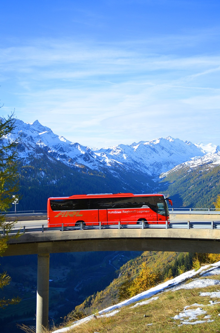 A bus in the Alps, Switzerland
