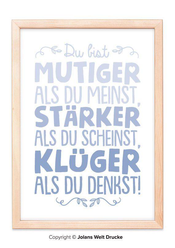 Du bist Mutiger Kunstdruck, Poster, Geschenk, Deko, Bild, Familie, Zuhause, Wandbild