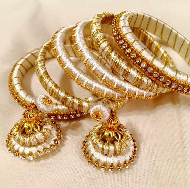 YankeeDesi.com - Silk thread wrapped bangles and earring set