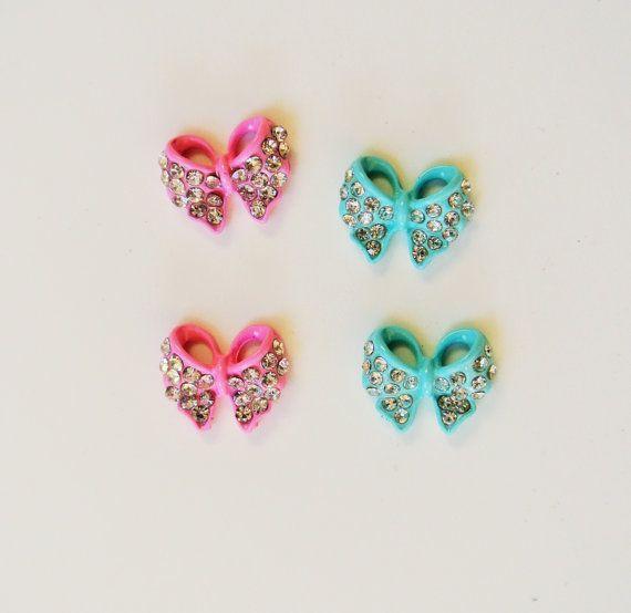 4 pezzi di prua chiodo fascino 2 rosa e 2 acquamarina, 3d nail art, chiodi metallici, accessori, Nail art, Nails Prom, cellulare Decoden, DIY Nail art