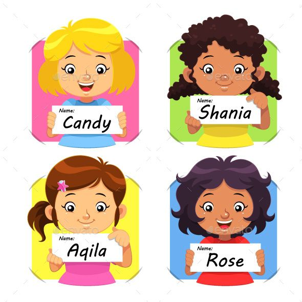 Girls Holding Their Name Tag Vector Eps10 Design Girl Names