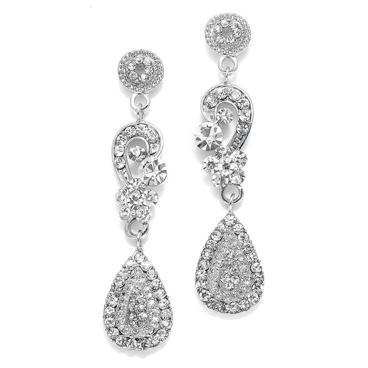Mariell Dangle Quince or Prom Earrings with Inlaid Crystals