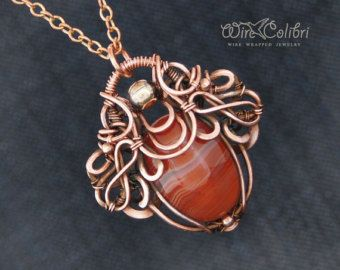 Agate stone pendant necklace, wire wrapped jewelry handmade, copper necklace, red-orange gemstone