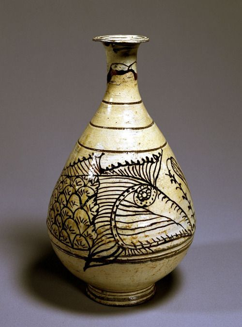 (Korea) Buncheong Bottle with Fish Design. ca 15th century CE. Korea : More At  FOSTERGINGER @ Pinterest
