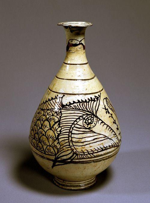 (Korea) Buncheong Bottle with Fish Design. ca 15th century CE. Korea : More At  FOSTERGINGER @ Pinterest