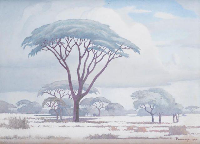 Jacob Hendrik Pierneef (South African, 1886-1957) Thorn acacias in the veld