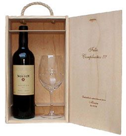 Cajas para vino personalizadas con logo. Para botellas y copas grabadas. Wine Packaging