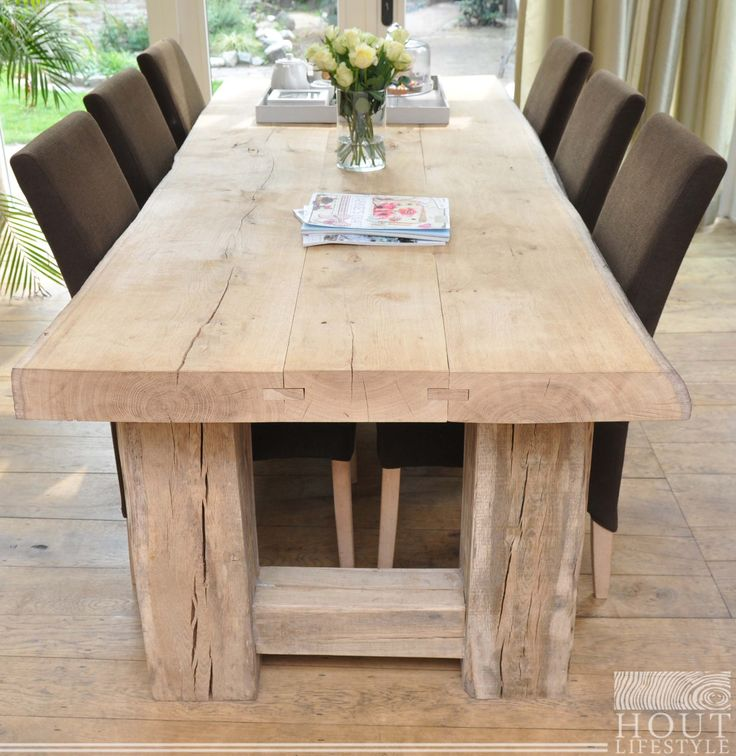 25 best images about hout lifestyle meubelen on pinterest for Houten eettafel