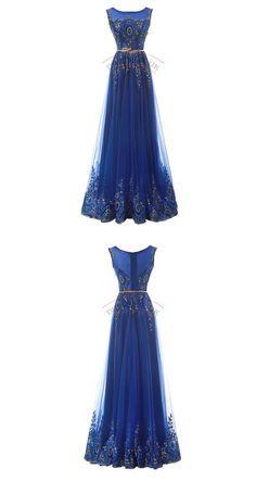 Gorgeous Scoop Neck Prom Dresses,Tulle Prom Dresses,Appliques Prom Dresses,Long…