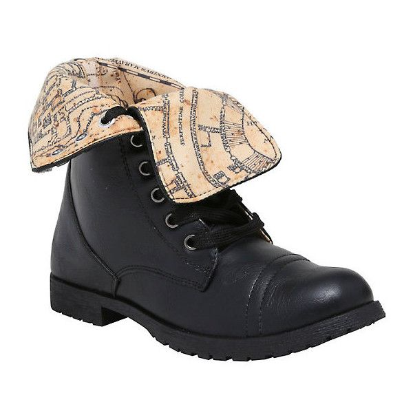 Harry Potter Marauder's Map Combat Boots Hot Topic ($35) via Polyvore featuring shoes, boots, black shoes, black army boots, black boots, fold over tall boots and tall combat boots