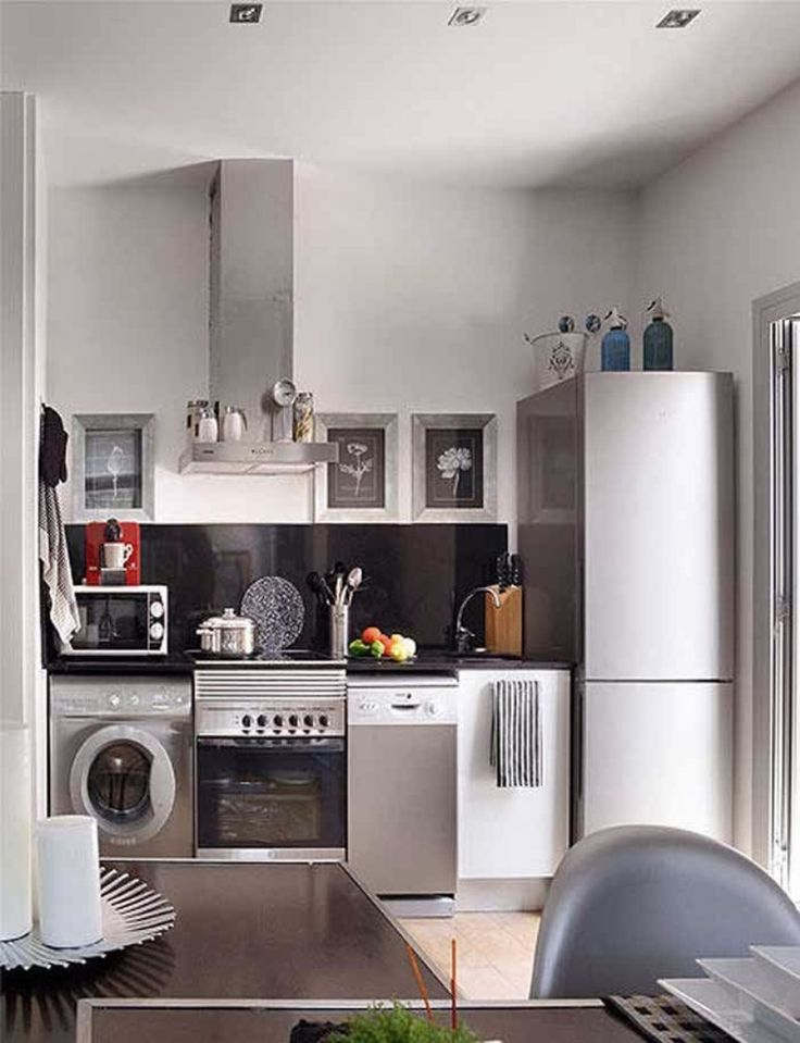 Inspirational Laundry In Kitchen Design Ideas For Small Spaces: Mini Hood  With Bottom Freezer Compartment