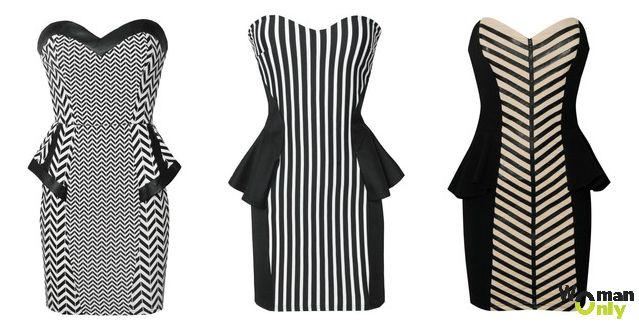 Платье с баской для полных девушек - черно-белые полоски
