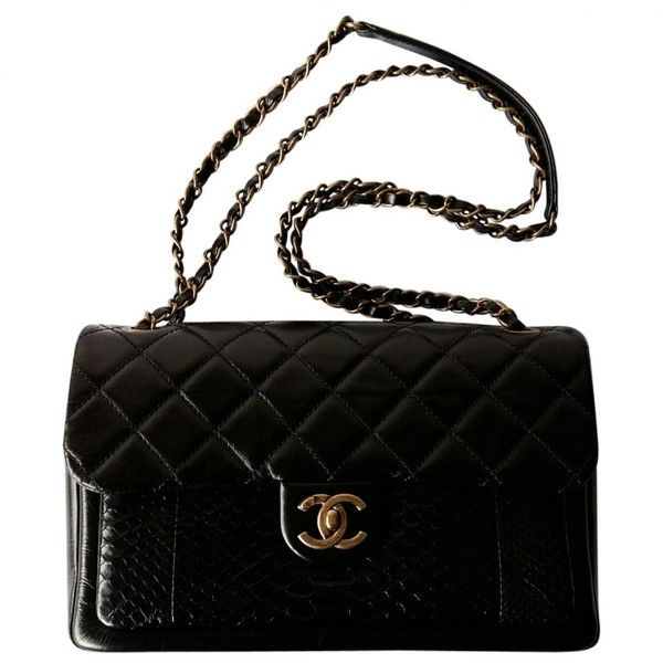 Pre-owned Chanel Timeless Leather Handbag (€4.820) ❤ liked on Polyvore featuring bags, handbags, purses, black, women bags handbags, chanel purse, leather purses, chanel, man bag and real leather purses