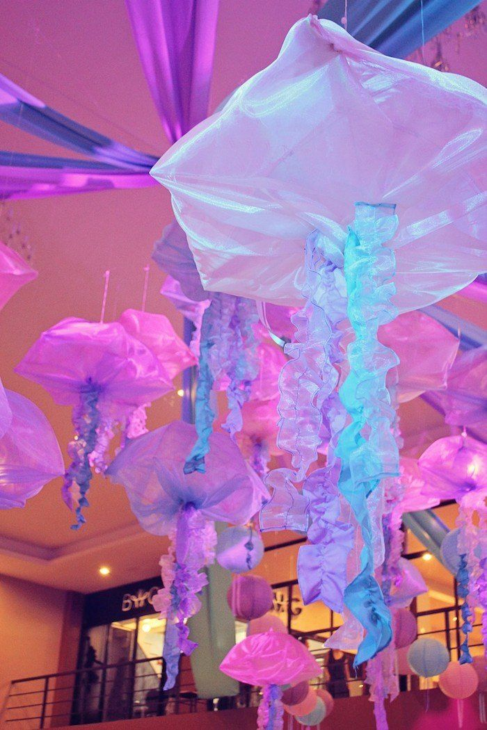 Awesome Jellyfish Decor from this Mermaids vs. Pirates Themed Birthday Party with So Many Really Cute Ideas via Kara's Party Ideas KarasPartyIdeas.com #mermaidparty #piratepa...