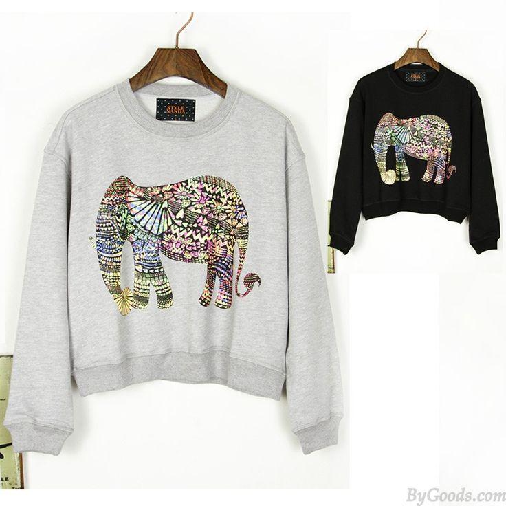 Neuer Stil Der Klassik Elefant Rundhals Pullover only $27.99 in ByGoods.com!