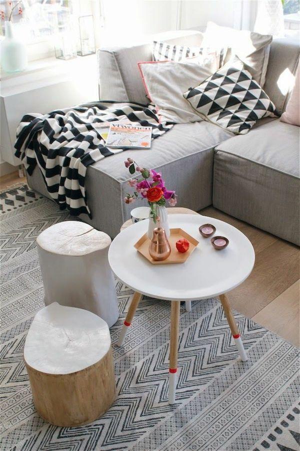 einrichtung wohnzimmer scandinavische möbel couchtisch rund