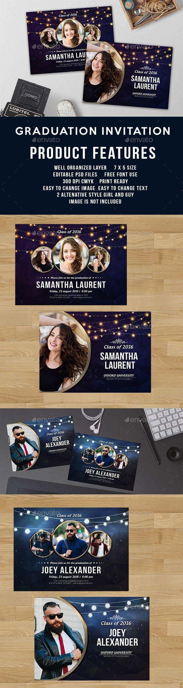 Graduation Invitation Card Template PSD