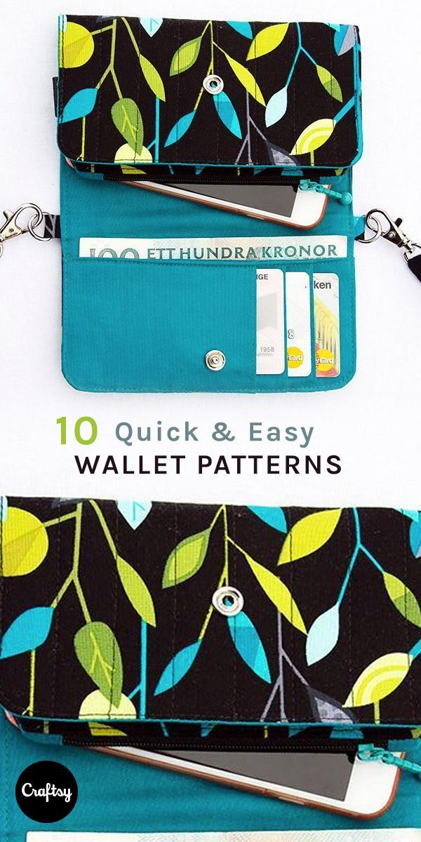 Why spend money on a new wallet when you can sew your own? Check out these 10 quick wallet patterns and you'll soon have a beautiful new spot to store those dollar bills.