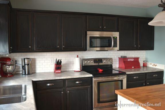 Subway Tile Backsplash Kitchen Dark Kitchen Cabinets
