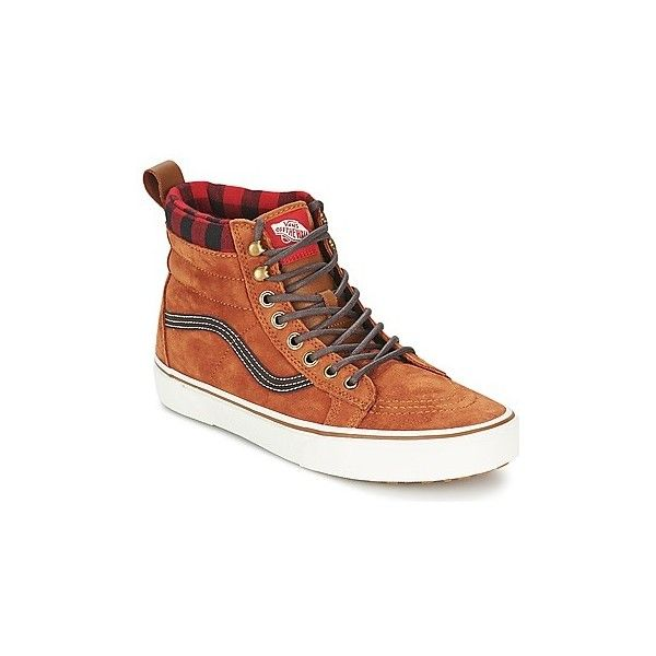 Vans SK8-HI MTE Shoes (High-top Trainers) ($150) ❤ liked on Polyvore featuring shoes, sneakers, high top trainers, women, vans shoes, brown leather high tops, brown shoes and brown high top sneakers