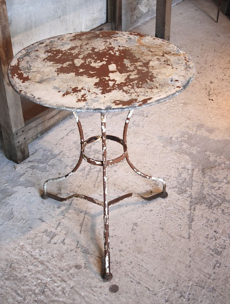 Grungy Round Metal Bistro Table