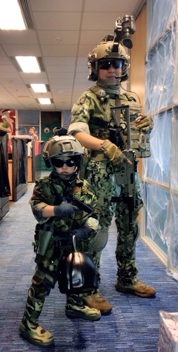 U.S. Navy Seal impression - Mother & Son costumes