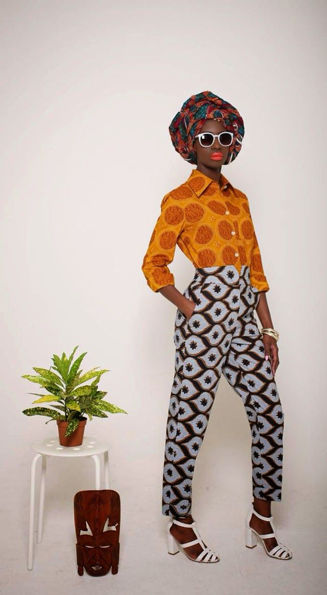 Mazel John African print trousers and shirt
