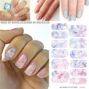 K5711B Water Transfer Foil Nails Sticker Pink Flower Design Nails Stickers Manicure Styling Tools Water Film Paper Decals