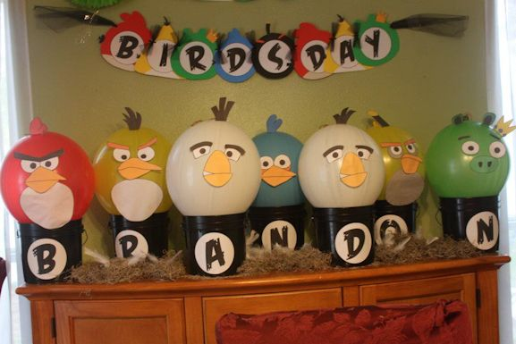 angry bird birthday decor.  Tried the balloons, didn't work as well as I'd like.