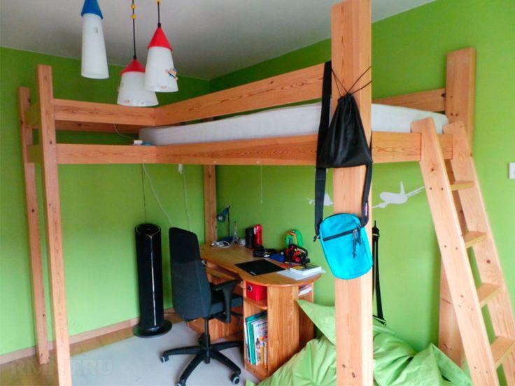 Как сделать деревянную детскую кровать на высокой платформе