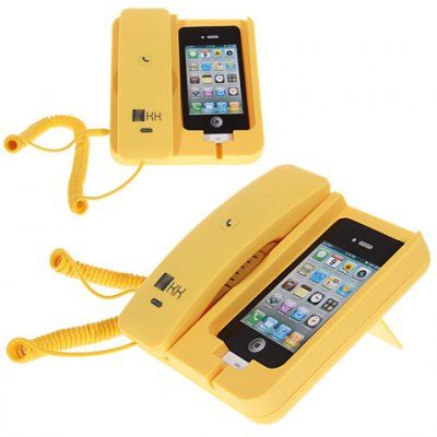 Cheap KK-02 Handset Dock Stand with Hands Free for iPhone 4,4S,3G/3GS,iPhone 5 Yellow (YELLOW) | Everbuying Mobile