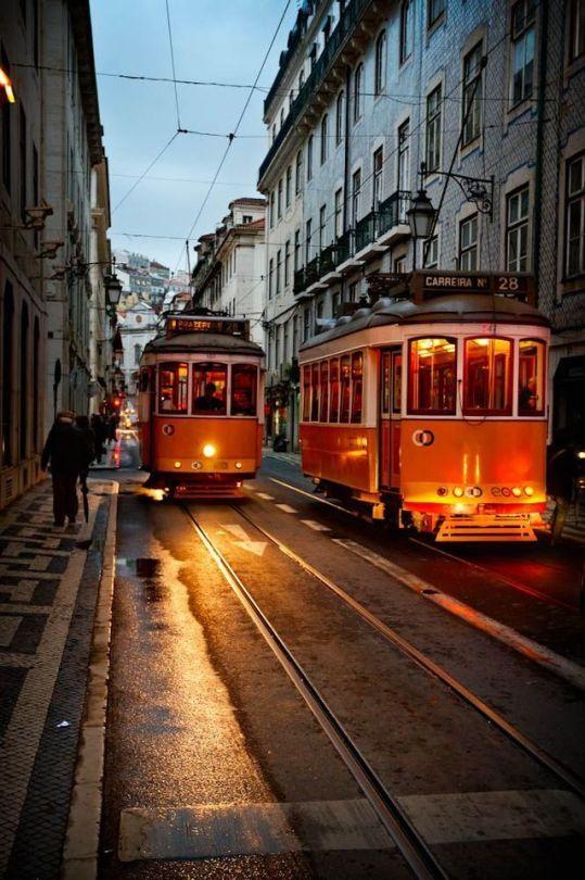 Late Tram in Chiado, Lisbon, Portugal
