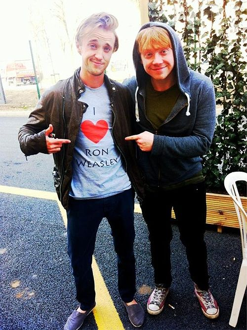 I love Ron Weasley, too  :*)Rupert Grint, Tomfelton, Funny Pictures, Ronweasley, Funny Friday, Harry Potter, Ron Weasley, Draco Malfoy, Tom Felton