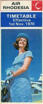Air Rhodesia timetable - 1970