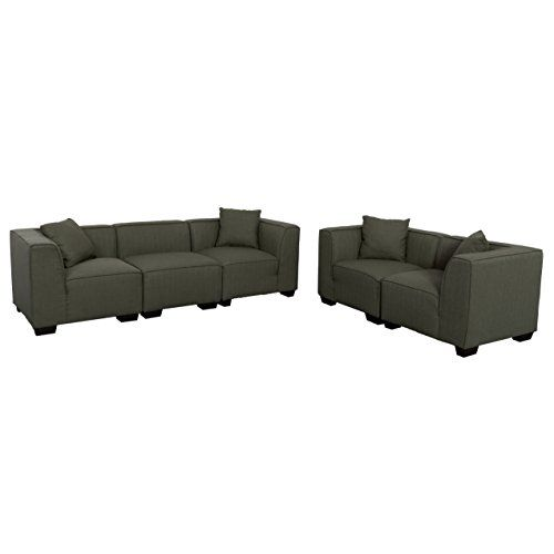 CorLiving LZY-838-Z9 Lida 5pc Army Green Fabric Sectional Sofa and Loveseat Set