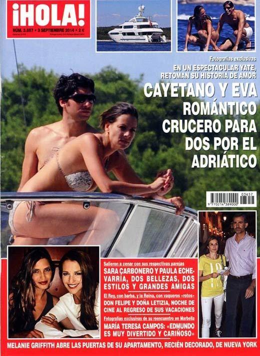 Esta semana en ¡HOLA! Cayetano y Eva romántico crucero para dos por el Adriático.