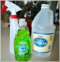 Homemade Shower Cleaner  We have very hard water and this works better than ANYTHING I've ever tried. Let it sit for a few minutes and all you do is wipe and rinse!
