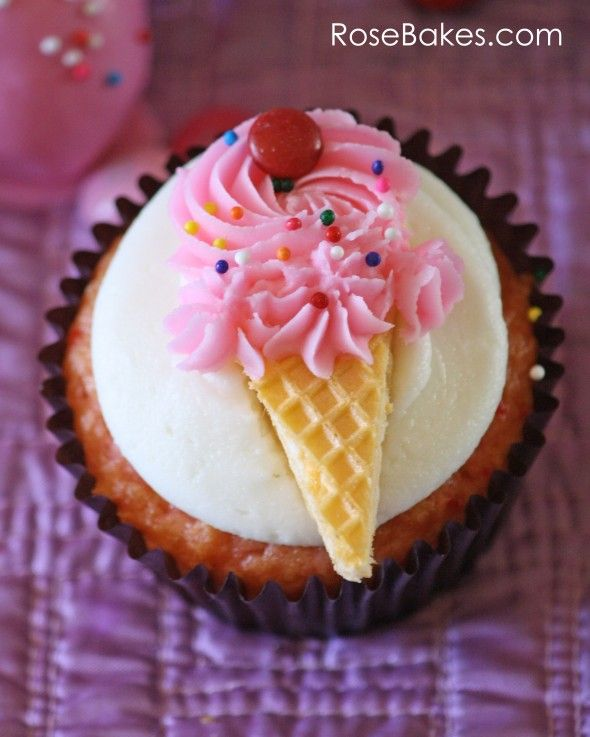Ice cream cone cupcakes, made with wafer cookies for the cone and piped frosting for the ice cream