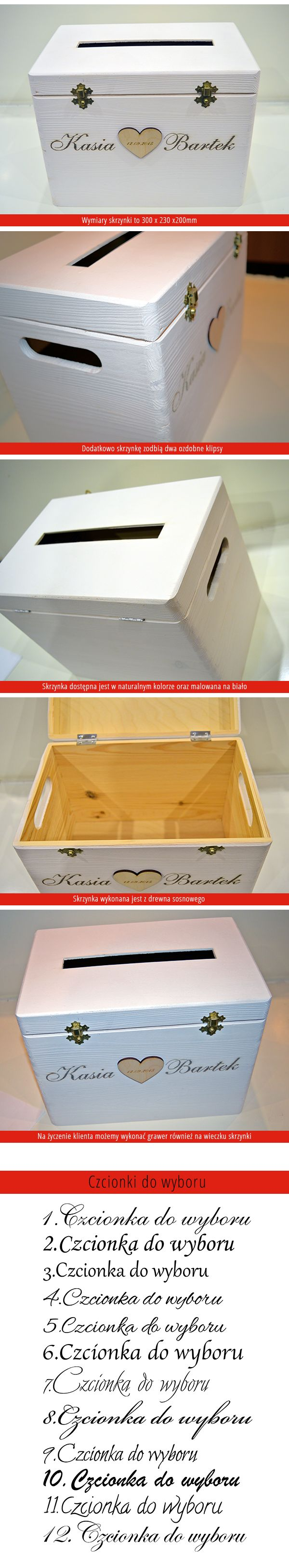 Drewniana skrzynka na koperty ślubne biała - Grawernia24