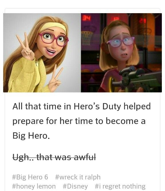 1. The girl from WIR and BH6 are the same person. Probability: 4 baymaxes out of 5. 2. Honey Lemon is a descendent of Rapunzel. Probability: 3/5 baymaxes