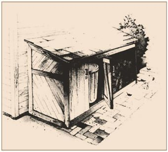 Free Trash Can and Firewood Storage Shed Plans from SouthernPine.com -  Use these free plans to build a handy little storage shed to organize the woodpile and conceal the trash containers.
